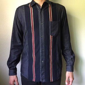 TOMORROWLAND Blue Tricot Stripe Sport Shirt